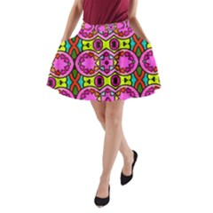 Love Hearths Colourful Abstract Background Design A Line Pocket Skirt