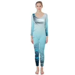 Feathery Background Long Sleeve Catsuit by Simbadda