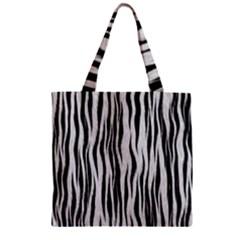 Black White Seamless Fur Pattern Zipper Grocery Tote Bag by Simbadda