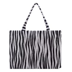 Black White Seamless Fur Pattern Medium Tote Bag by Simbadda