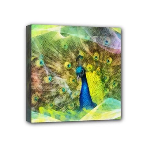 Peacock Digital Painting Mini Canvas 4  X 4