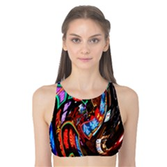 Abstract Chinese Inspired Background Tank Bikini Top
