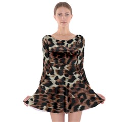 Background Fabric Animal Motifs Long Sleeve Skater Dress by Simbadda