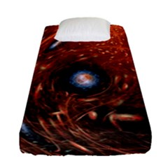 Fractal Peacock World Background Fitted Sheet (single Size) by Simbadda