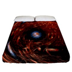 Fractal Peacock World Background Fitted Sheet (queen Size) by Simbadda