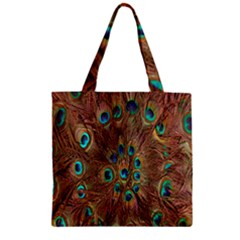 Peacock Pattern Background Zipper Grocery Tote Bag by Simbadda