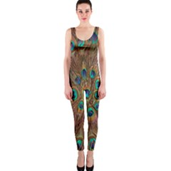 Peacock Pattern Background Onepiece Catsuit by Simbadda