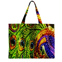 Glass Tile Peacock Feathers Zipper Mini Tote Bag by Simbadda
