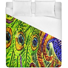 Glass Tile Peacock Feathers Duvet Cover (california King Size) by Simbadda