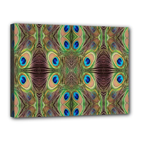 Beautiful Peacock Feathers Seamless Abstract Wallpaper Background Canvas 16  X 12  by Simbadda