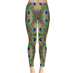 Beautiful Peacock Feathers Seamless Abstract Wallpaper Background Leggings  by Simbadda