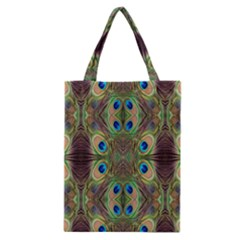 Beautiful Peacock Feathers Seamless Abstract Wallpaper Background Classic Tote Bag by Simbadda