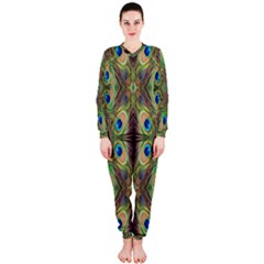 Beautiful Peacock Feathers Seamless Abstract Wallpaper Background Onepiece Jumpsuit (ladies)