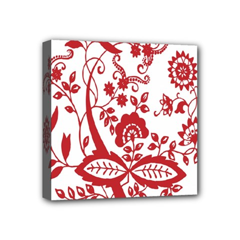 Red Vintage Floral Flowers Decorative Pattern Clipart Mini Canvas 4  X 4  by Simbadda