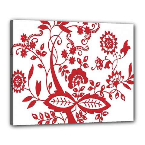 Red Vintage Floral Flowers Decorative Pattern Clipart Canvas 20  X 16  by Simbadda