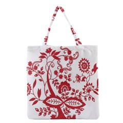 Red Vintage Floral Flowers Decorative Pattern Clipart Grocery Tote Bag by Simbadda