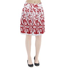Red Vintage Floral Flowers Decorative Pattern Clipart Pleated Skirt by Simbadda