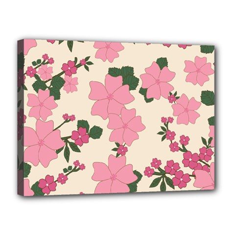 Vintage Floral Wallpaper Background In Shades Of Pink Canvas 16  X 12  by Simbadda
