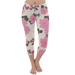 Vintage Floral Wallpaper Background In Shades Of Pink Capri Winter Leggings  by Simbadda