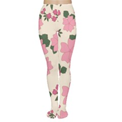 Vintage Floral Wallpaper Background In Shades Of Pink Women s Tights by Simbadda