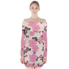 Vintage Floral Wallpaper Background In Shades Of Pink Long Sleeve Off Shoulder Dress by Simbadda