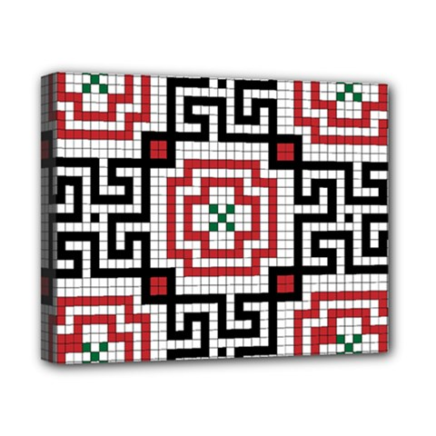 Vintage Style Seamless Black White And Red Tile Pattern Wallpaper Background Canvas 10  X 8  by Simbadda