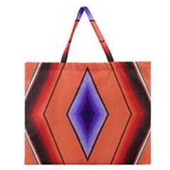 Diamond Shape Lines & Pattern Zipper Large Tote Bag by Simbadda