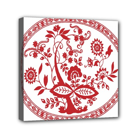 Red Vintage Floral Flowers Decorative Pattern Mini Canvas 6  X 6  by Simbadda