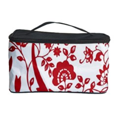 Red Vintage Floral Flowers Decorative Pattern Cosmetic Storage Case by Simbadda