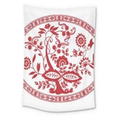 Red Vintage Floral Flowers Decorative Pattern Large Tapestry
