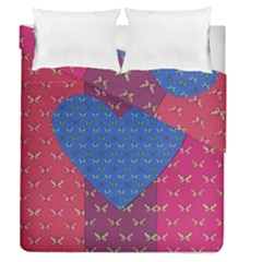 Butterfly Heart Pattern Duvet Cover Double Side (queen Size) by Simbadda