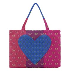 Butterfly Heart Pattern Medium Tote Bag by Simbadda
