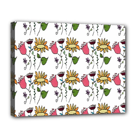 Handmade Pattern With Crazy Flowers Canvas 14  X 11  by Simbadda