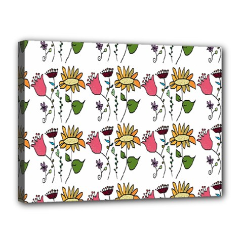 Handmade Pattern With Crazy Flowers Canvas 16  X 12  by Simbadda