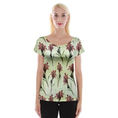 Vintage Style Seamless Floral Wallpaper Pattern Background Women s Cap Sleeve Top