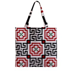 Vintage Style Seamless Black, White And Red Tile Pattern Wallpaper Background Zipper Grocery Tote Bag by Simbadda
