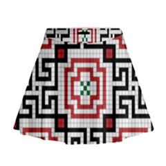 Vintage Style Seamless Black, White And Red Tile Pattern Wallpaper Background Mini Flare Skirt by Simbadda