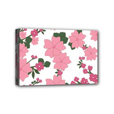 Vintage Floral Wallpaper Background In Shades Of Pink Mini Canvas 6  X 4  by Simbadda