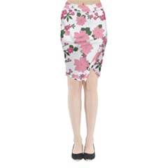 Vintage Floral Wallpaper Background In Shades Of Pink Midi Wrap Pencil Skirt by Simbadda