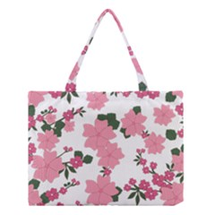 Vintage Floral Wallpaper Background In Shades Of Pink Medium Tote Bag by Simbadda