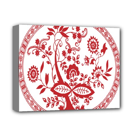 Red Vintage Floral Flowers Decorative Pattern Deluxe Canvas 14  X 11  by Simbadda