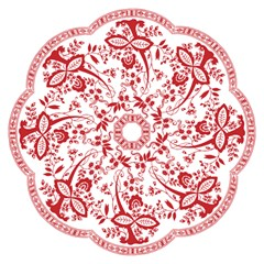 Red Vintage Floral Flowers Decorative Pattern Hook Handle Umbrellas (small) by Simbadda