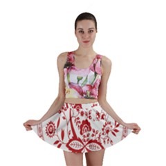 Red Vintage Floral Flowers Decorative Pattern Mini Skirt by Simbadda