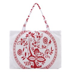 Red Vintage Floral Flowers Decorative Pattern Medium Tote Bag by Simbadda