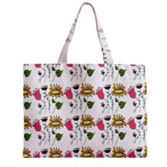 Handmade Pattern With Crazy Flowers Zipper Mini Tote Bag by Simbadda