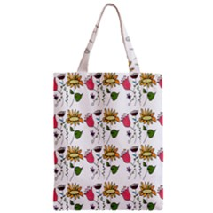 Handmade Pattern With Crazy Flowers Zipper Classic Tote Bag