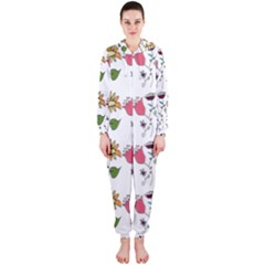 Handmade Pattern With Crazy Flowers Hooded Jumpsuit (ladies)