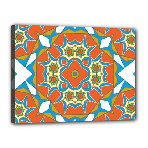 Digital Computer Graphic Geometric Kaleidoscope Canvas 16  X 12  by Simbadda