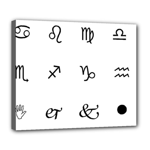 Set Of Black Web Dings On White Background Abstract Symbols Deluxe Canvas 24  X 20   by Amaryn4rt