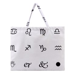 Set Of Black Web Dings On White Background Abstract Symbols Zipper Large Tote Bag